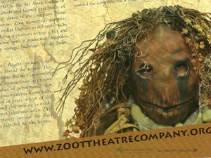 Laurana Wong - Promoting The Zoot Theatre Company - The stick-haired creature is press-lipped and droop-eyed while words surround her head